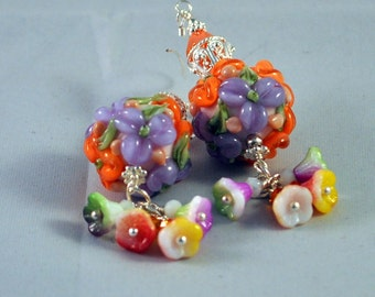 Lilac and Orange Earrings,Colorful Earrings, Bright colors,Floral Jewelry,Flower Earrings - LILAC TIME