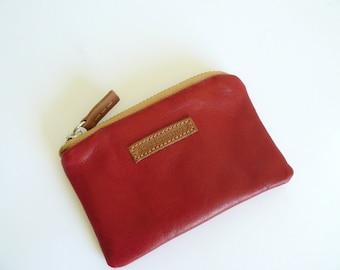 Retro red leather coin purse/ wallet / aseismanos