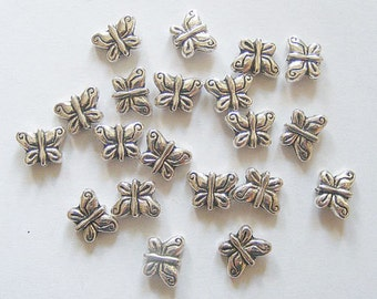 20 Metal Antique Silver Butterfly Spacer Beads - 10mm