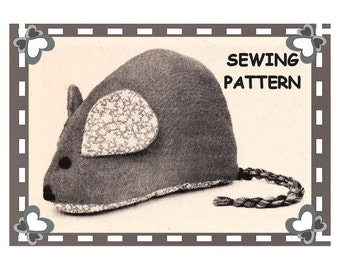 Instant Download PDF Easy Full Size Printable Sewing Pattern to make a 16 X 10 inch Large Mouse Soft Toy Bean Bag Door Stop Fun Cushion