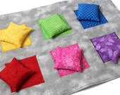 Flannel Toss Game Mat and Rainbow Bean Bags (set of 6) Pink Purple Blue Green Yellow Homeschool Child's Sensory Toy - US Shipping Included