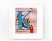 6x8 Vintage Monogram Print. Letter K vintage alphabet print for babys bedroom. ABC Vintage Nursery Print Fifties 1950s abc50