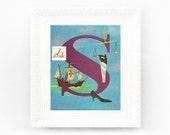 6x8 Vintage Monogram Print. Letter S vintage alphabet print for babys bedroom. ABC Vintage Nursery Print Fifties 1950s abc50