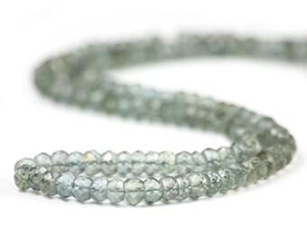 Moss Aquamarine Micro Faceted Rondelles 10 Grey Green Semi Precious Gemstone March Birthstone