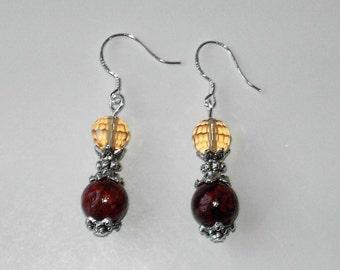 Orange/Brown Chrysocolla silver plated earrings (#491)