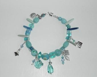 "Blue Lampwork bracelet. Size 8"" . One of the kind (#526)"