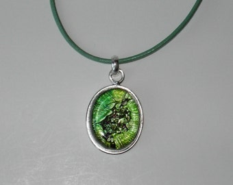 Dichroic Glass pendant leather necklace (#536-8)