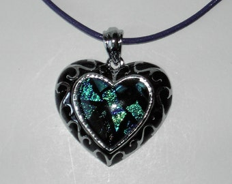 Dichroic Glass pendant leather necklace (#538)
