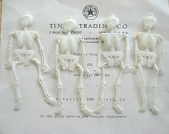 Vintage Halloween Plastic Skeletons - Movable Arms & Legs 10 pcs Original Stock