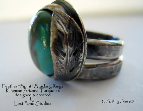 "Handmade Southwestern Boho Chic One Of A Kind Sterling Silver Copper Blue Kingman Turquoise ""Spirit"" Symbol Stacking Rings"