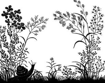 Snail in a Wildflower Field - Digital Image - Vintage Art Illustration