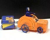 Wood Miniatures Hand Painted Wood Tractor Hanomag Metal Wheels German Putz Erzgebirge Miniatures