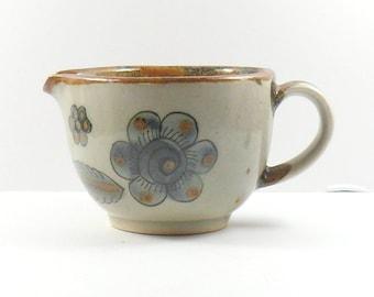 Mexican Pottery Demitasse Creamer Ken Edwards Tonala Blue Birds Folk Art Vintage 1960s
