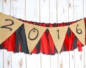 Class of 2016 burlap banner - graduation decor - 2016 senior photo prop - 2016 prop - high school reunion - 2016 party decoration