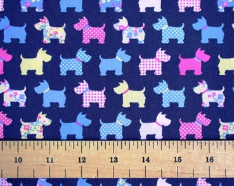 Quilting fabric, scottie dog fabric, dogs fabric, quilting fabric, sewing supply, UK fabric SHOP