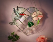 Stained Glass Suncatcher Hummingbird with Heart and Flower   (617)