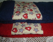 Red or navy hand/dish towel w/red, white, blue stars and hearts, 100% cotton terry, Americana,  patriotic holidays, USA, hostess gift