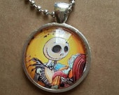 Tim Burton's Nightmare Before Christmas Jack and Sally pendant necklace ,glass dome,circle pendant,Halloween, Love story pendant