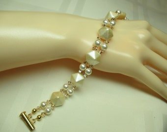 Ivory and Cream Bead Bracelet