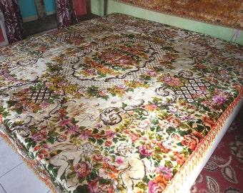 """Vintage Gypsy Bedspread, Italian Crushed Velvet, WWII, 98""""l. x 86""""w.,"""