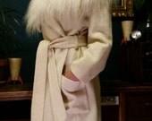 Sale!! Ice Princess Winter White Ivory Boucle Wool Robe Coat with Mongolian Wool Shearling Collar,  Medium Large