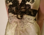 Hand-embellished Vintage chartreuse tea dyed silk dress with Jet and antique glass beads.  Ethereal delight.