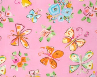Tiddlywinks - Butterflies Pink by Dena Designs from Free Spirit