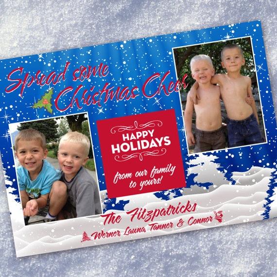 Christmas cards, blue Christmas, spread Christmas cheer photo card, white Christmas, snowflake Christmas card, blue Christmas card, CC083