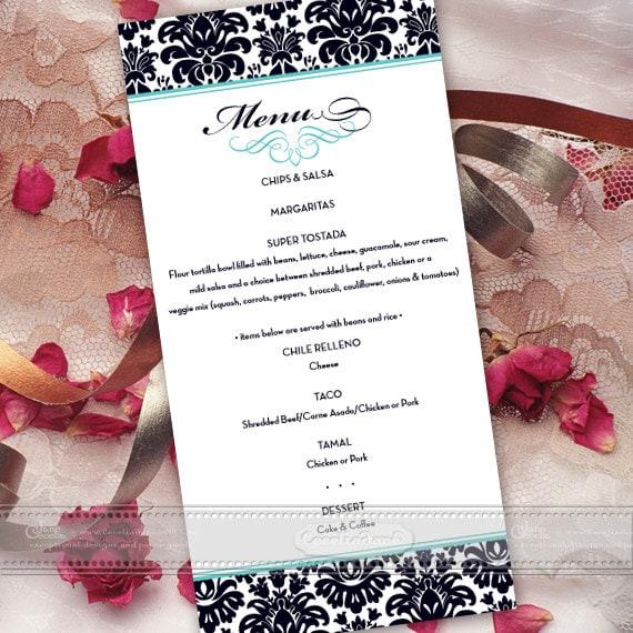 dinner menu, rehearsal dinner menu, brunch menu, bridal shower brunch menu, turquoise and blank menu, coordinating menu card, birthday IN464
