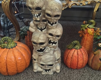 Tall Halloween skeleton stack lights up