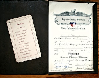 1925 Diploma, Common School, Washburn Wisconsin, Bayfield County, Antique Document for Graduate