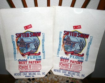 Vintage Paper Flour Bag/Sack, Sifted Snow, Weyers Cave Milling, Set of 2, Unused