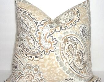 Portfolio Tan & Grey Paisley Print Pillow Cover Decorative Throw Pillow Cover Lumbar size 18x18