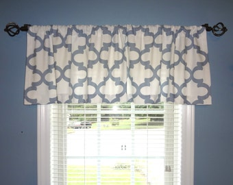 SALE Curtain Valance Topper Window Valance 52x15  Blue & White Geometric Valance