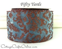 "Christmas Wired Ribbon 2 1/2"" Blue Copper Brown Sheer Swirl Glitter - FIFTY YARDS - Reliant  ""Filigree Copper"" Wire Edged Christmas Ribbon"