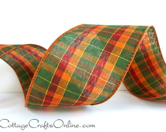 "Wired Ribbon, 2 1/2"" wide, Plaid, Green, Orange, Cranberry, Yellow - THREE YARDS  -  ""Pumpkin Plaid"" Fall, Halloween Wire Edged Ribbon"