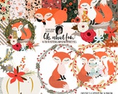 Cute Woodland Fox Clipart and floral Png files 10 ten inch digital papers Small Commercial Use like Planner Stickers Custom Card Template