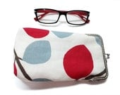 Eyeglasses Case - Sunglasses case - cotton canvas - Silver Frame - Ready to ship!