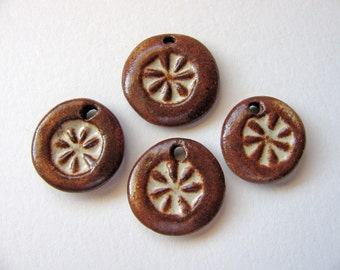 Autumn Brown Flower Charms Stoneware Clay