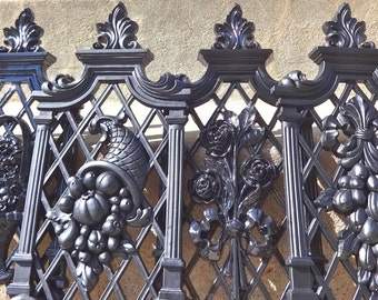 Ornate Glossy Black and Matte Wall Plaque Set Of Four Vintage French GOTHIC Paris
