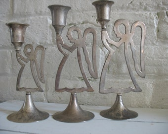 Vintage Silver Plate Angel Candle Holders - India - International Silver Co.