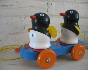 Vintage Wooden Penguin Pull Toy Walter Western Germany