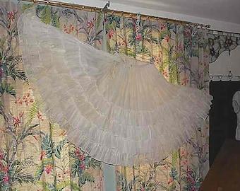 Vintage Organdy Petticoat Flouncy White 5 Ruffles Layers Very Full 1930s