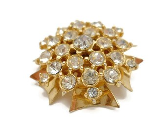 Vintage Rhinestone Brooch Starburst 1950s Jewelry