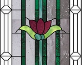 Custom listing for DL  Beveled stained glass panel windows Art Deco purple yellow flower 26 1/4 x 10 3/4