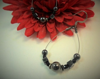 Dangle Earrings - Hematite Beads - Versatile Earrings - Teardrop Shape