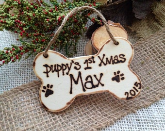 Puppy's First Christmas Personalized Ornament with Name and Year Dog Bone Pet Parents