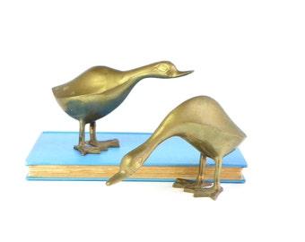Mid Century Brass Ducks - Set of 2