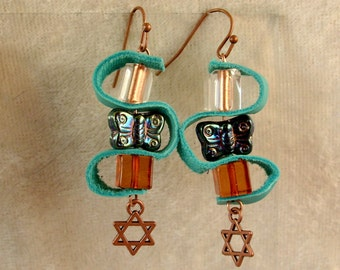 Leather, Glass, and Metal Earrings - LE36