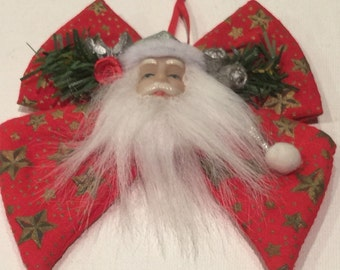 Vintage Old Saint Nick - holiday ribbon ornament for Christmas tree.